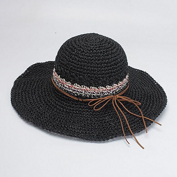 4cc1c454e Bowknot Straw Hats Women Summer Beach Elegant Fashion Sun Hat Floppy Brim  Foldable Chapeau Femme Wide