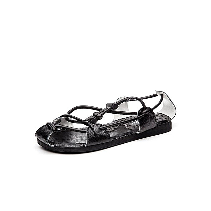 ad6101c9e5d8 Men Sandals Genuine Leather Men Beach Shoes Fashion Summer Sandals Men  Slippers Black Sandals(Black