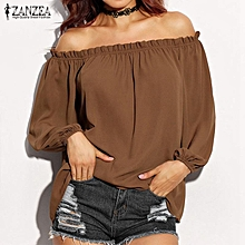 5 Colors ZANZEA Women Blouses Ruffles Off Shoulder Loose Tops Slash Neck Long Sleeve Autumn Shirts Oversized (Coffee)