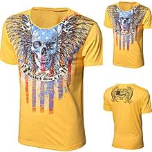 Men Boy Summer Cotton Tees Shirt Short Sleeve Printed T-Shirt Tops YE/M-yellow