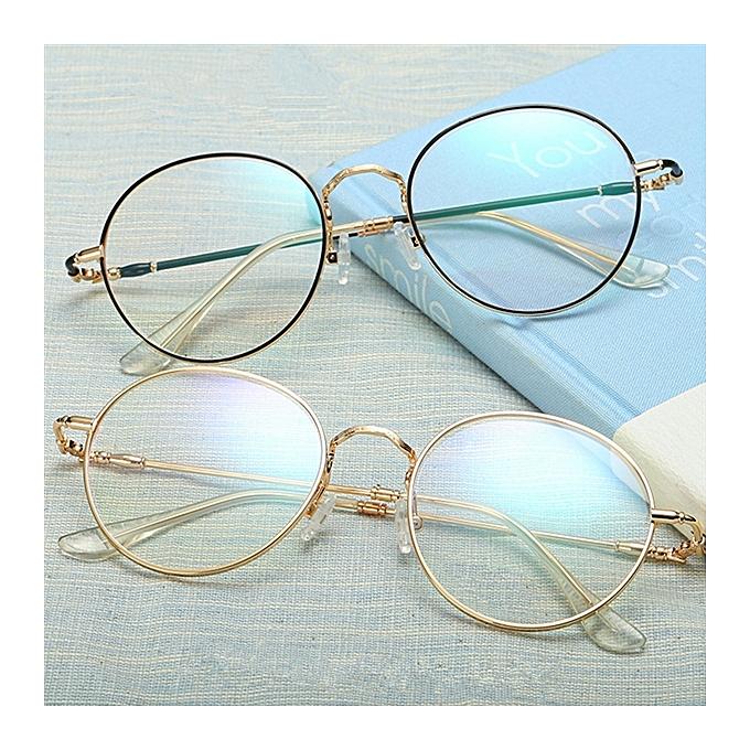 98444cfab0 Unisex Ultralight Radiation Protection Eyeglasseess Round Oval Metal Rim  Vintage Lens Glasses ...