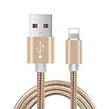CO 1M USB Charger Cable Nylon Braided Charging Data Sync for iPhone-gold