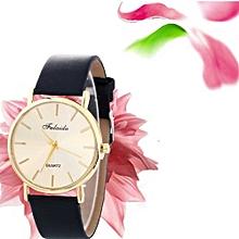 Women Wind Quartz Quality Watch Leather Strap Belt Table Watch BK