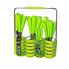 Stainless steel cutlery set with caddy 24pcs-lime green