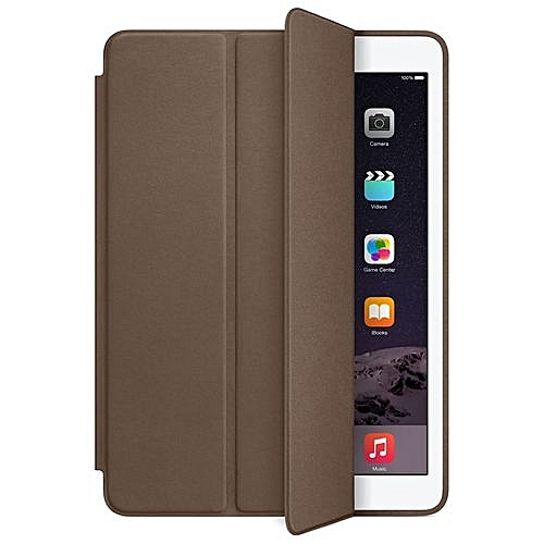 For IPad Air 2 Genuine Leather Smart Case Cover Slim Wake Dark Brown