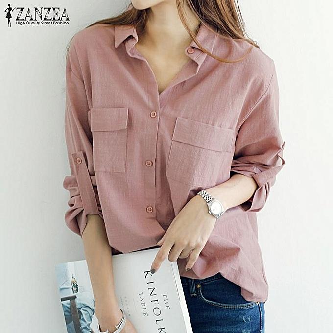 f2d14968c0b ZANZEA Women Long Sleeve Button Oversize Casual Collar Tops Shirt Blouse