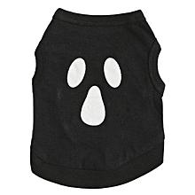 dog Clothes Christmas Cotton  Halloween Ghost Pet Vest S-Black