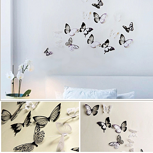 neworldline 3d wall stickers butterfly fridge home decoration- black