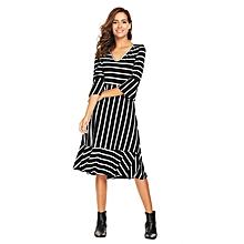 Women Flare Sleeve Striped V-neck A-line Dress Mild-calf Ruffles High Waist ( Floral )