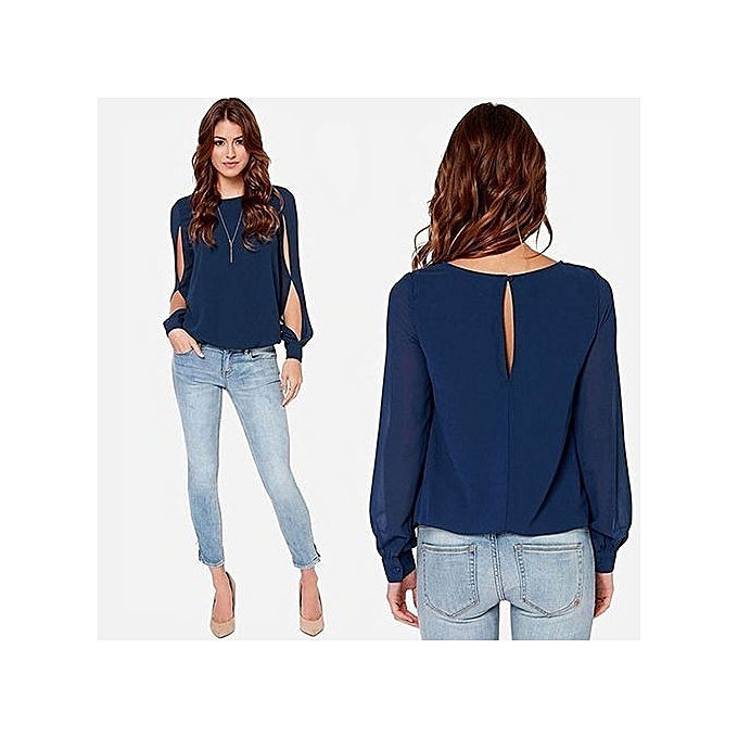 c55cca9f001b53 Women s Fashion Loose Sexy T-shirt Long Sleeve Chiffon Casual Blouse Shirt  Tops-Navy