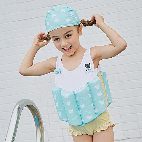 71343417f7e56 Generic Girl One-Piece Float Swimsuit+Cap+Arm Ring Stylish Cute Swimwear  With Removable Buoyancy Perfect for Kid Learn to Swim Blue 110cm