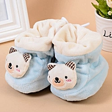 Refined Newborn Baby Toddler Warm Shoes Printing Bear Baby Soft Bottom Antiskid Shoes-Blue