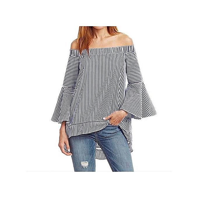 af38612cce36e5 Fashion Womens Summer Stripe Slash Neck Off Shoulder Flare Sleeve Blouse  Flouncing Asymmetric Hem Cute Casual Loose Shirt Tops (Dark Blue)