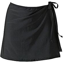 UJ Ladies Mix Match Solid Swim Beachwear Skirt Wrap Bikini Cover Strap-black