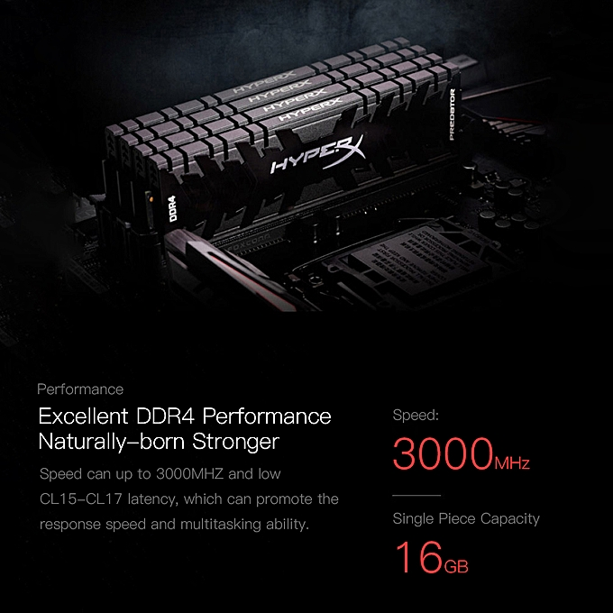 HyperX Kingston Technology Predator Black 32GB(Kit of 2) DDR4 3000MHz RAM  Gaming Memory CL15 1 35V DIMM (288-pin) XMP HX430C15PB3K2/32