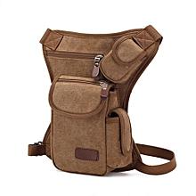 Multifunction Outdoor Cotton Sport Leg Bag Canvas Waist Bag Money Belt Bag- Khaki