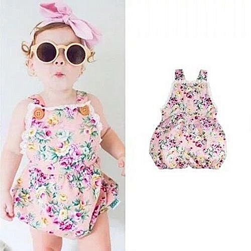f09c5084b7a7 UNIVERSAL INS Super Cute Baby Girls Sleeveless Strap Bodysuit Romper Fashion  Floral Printing Jumpsuit