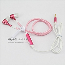 Earphones With Microphone Zipper 3.5mm Wired Headset Led Luminous Light Glow in the Dark Earphones For Phone-pink