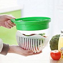 Green Salad-Maker Bowl Making-Salad Utensil Fruit Vegetables Cutter Chop Slicer