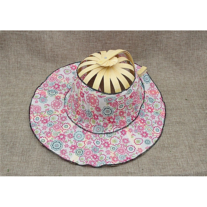 614bc5c7 Generic Folding Fan Traveling cap New Arrive Hand Held Folding Fans Summer  Women Girl Sun Hat Bamboo Dancing Fan Floral Cloth cap(Pink)