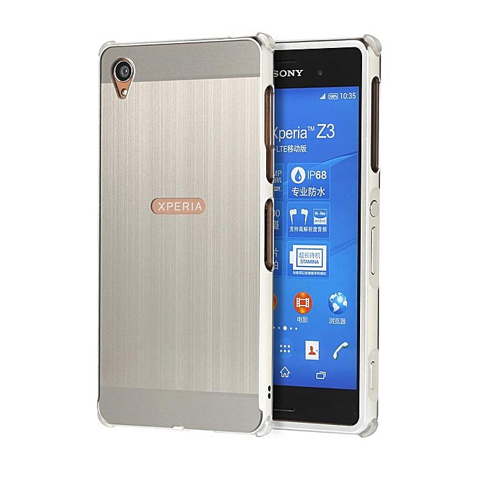 brand new b5806 2033d For Sony Xperia Z3, Metal Bumper And Wire Drawing PC Back Cover Protector  Case For Sony Xperia Z3