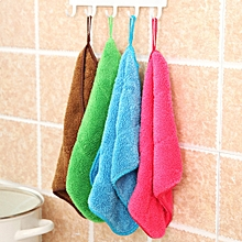 5 PCS Bamboo Fiber Washing Dish Towel Kitchen Cleaning Cloth Double-Sided Scouring Cloth Water Absorption Non-Stick Oil,Can Hang,Random Color Delivery