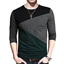 RaiFu Men's Contrast Color Slim Fit Crewneck Long Sleeve Basic T Shirt Top Color:XL Size:Black And Dark Green