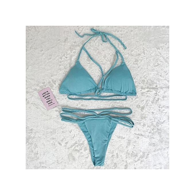 92ca87f555 ... Tectores Women Weave Push-Up Padded Bra Beach Bikini Set Swimsuit  Swimwear Gift ...