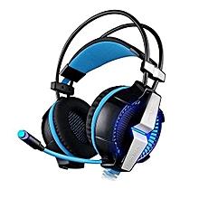 Headphone Gaming, Gaming Headphones G7000 Function/Breathing LED Light Earphones (Black Blue)