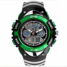 Fashion Kids Watches Sports 6 Colors Digital Rubber Children Watch Boy Waterproof 3Bar Gift Watches Student Stopwatch SKMEI(Green)