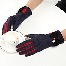 Africanmall store Girls Women Ladies Hand Wrist Winter Hanging Neck Thicken Warm Sport Gloves-Navy