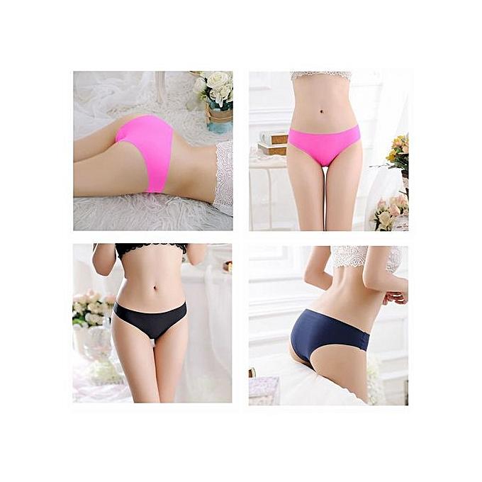 fbfbd757210 Ladies Underwear Ice Silk Non-marking Sexy Ladies Underwear Mid-waist  Panties -Black