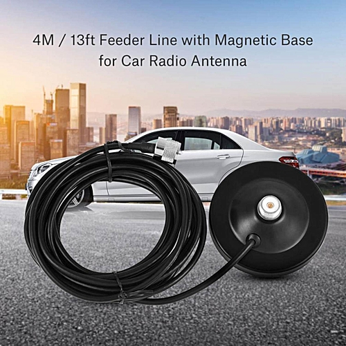 4M/13ft Feeder Cable M Plug with Mount Manetic Base for Walkie Talkie Car  Radio Antenna