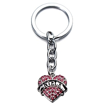 Family Gifts Silver Full Rhinestone Crystal Heart Pendant Keyrings Key Chain New
