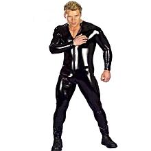 Stylish Male Sexy Leotard Imitation Leather Underwear Erotic Lingerie Seductive Siamesed Bodysuit Flirting Stage Costume Nightclub Wear   Color:black Size:XXXXL