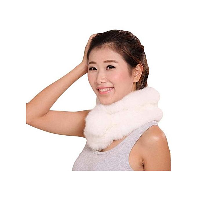 60c2cb17673 Hiaojbk Store Women Winter Scarf Lady Casual Fur Scarves Fur Ball Velvet  Scarf-White