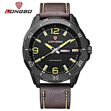 Watches, 80197 Luxury Brand Date Leather Casual Watch Men Sports Watches Quartz Military Wrist Watch Male Clock - Brown