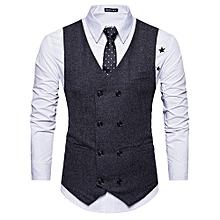 V Neck Double Breasted Belt Design Waistcoat - BLACK