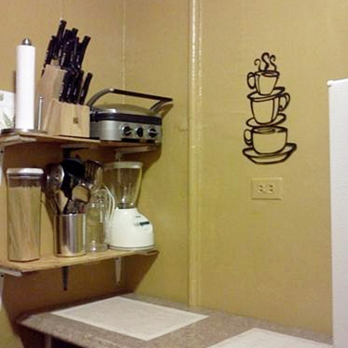 Buy Generic Home-Three Coffee Cups Wall Sticker Art Home Decal ...