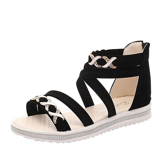 95d2ebdb701 MUYI Women Flat Shoes Summer Soft Leather Leisure Ladies Sandals ...