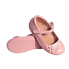 Girls Flower Printed Shoes With Soft Sole - Pink.