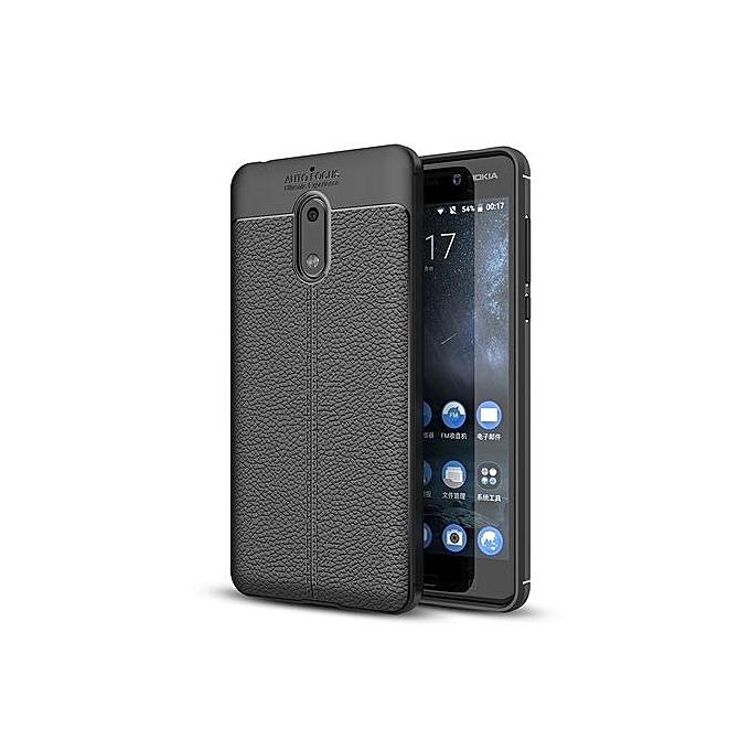 For Nokia 6 Litchi Texture Design Soft TPU Anti-skip Protective Cover Back Case(