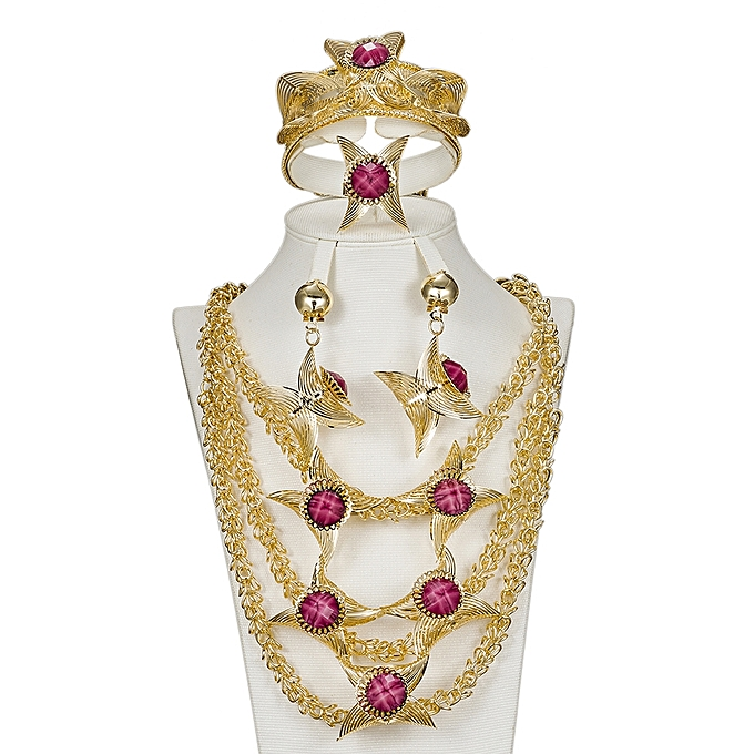 Sets Gold Plated Jewellery Set Necklace And Earrings Zircon