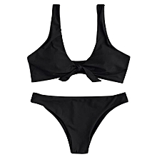 Bikini Set Knotted Scoop Neck-BLACK