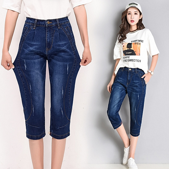 023be10649e Shorts Capri Jeans Plus Size High Waist Mom Harem Pant tall