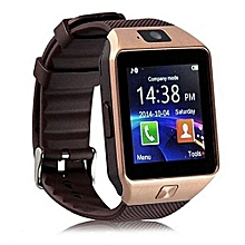 Smart Gear DZ09 Smart Watch Phone for Android and Apple with Camera - Gold Brown