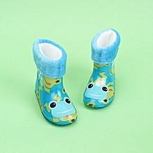 Waterproof Child Animal Rubber Infant Baby Rain Boots Kids Warm Rain Shoes- Blue
