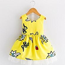 Toddler Kids Baby Girls Princess Party Clothes Printing Sleeveless Tutu Dresses