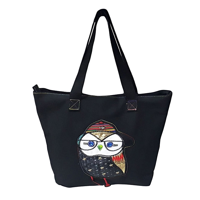 Black Canvas Tote Bag With Multi Colour Owl Imaging