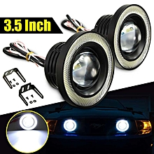 Nice Pair 3.5 Inch LED Projector Fog Light High Power w/ COB Angel Eyes Halo Rings